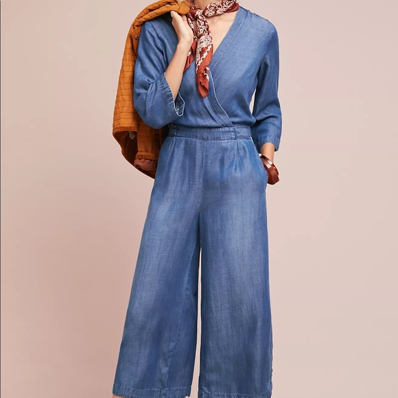 Anthropologie chambray jumpsuit XL